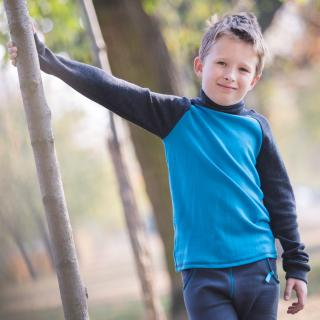 Kid's Merino Two-color Polo Neck Sweater Turquoise Graphite In motion
