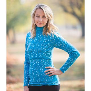 Women's Polo Neck Sweater for discreet breastfeeding Teddy turquoise Turquoise