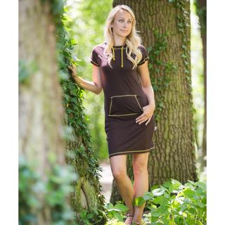 Women's Merino Short Sleeve Hooded Thin Dress with pocket Brown Yellow Front
