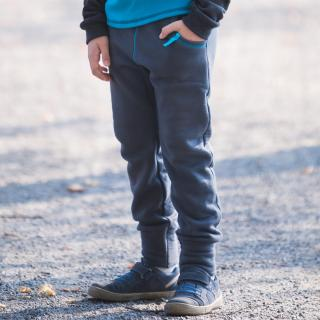 Kid's Merino Sweatpants with pockets Turquoise Detail