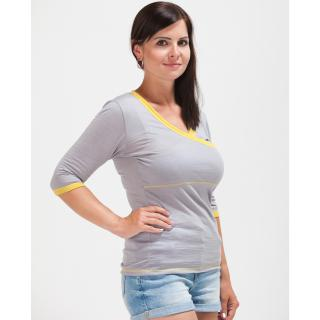 Women's Merino ¾ Sleeve Crossed Thin Nursing T-shirt Grey Yellow Side