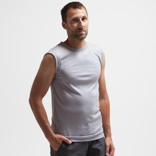 Men's Merino No Sleeve Round Neck Thin T-shirt Grey