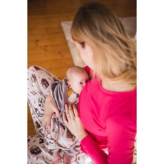 Women's Merino Long Sleeve Thin T-shirt for discreet breastfeeding Pink