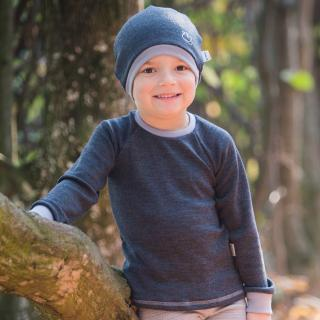Kid's Merino Long Sleeve Round Neck T-shirt Graphite Grey