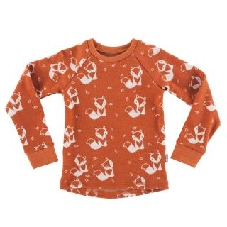 Kid's Merino Long Sleeve Round Neck T-shirt Cream fox - rusty Rusty