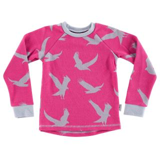 Kid's Merino Long Sleeve Round Neck T-shirt Eagle pink Grey
