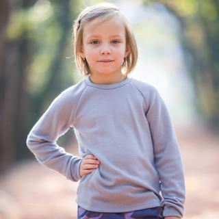 Kid's Merino Long Sleeve Round Neck T-shirt Grey