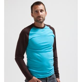 Men's Merino Long Sleeve Round Neck Two-color Thin T-shirt Turquoise Brown