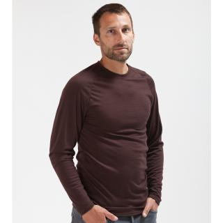 Men's Merino Long Sleeve Round Neck Thin T-shirt Brown