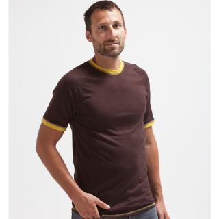 Men's Merino Short Sleeve Round Neck Thin T-shirt Brown Yellow