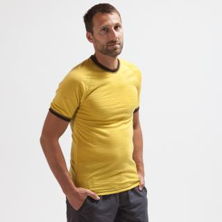 Men's Merino Short Sleeve Round Neck Thin T-shirt Yellow Brown