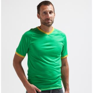 Men's Merino Short Sleeve V-neck Thin T-shirt Green Yellow