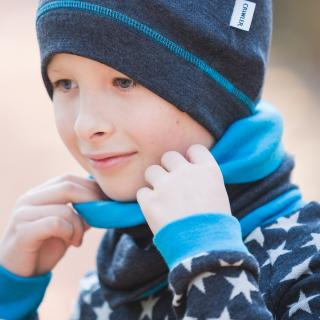 Kid's Merino 2-layer Reversible Neck Tube Graphite Turquoise From the side