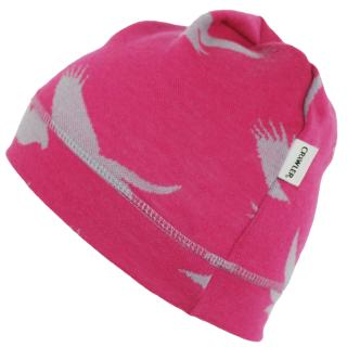 Women's Merino 1layer Beanie Eagle pink Wholepatterned