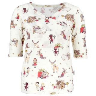 Women's Merino ¾ Sleeve Crossed Thin Nursing T-shirt Fairytale Wholepatterned
