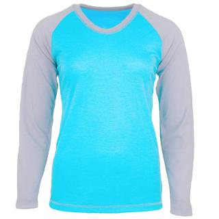 Women's Merino Long Sleeve Round Neck Two-color Raglan Thin T-shirt Turquoise Grey